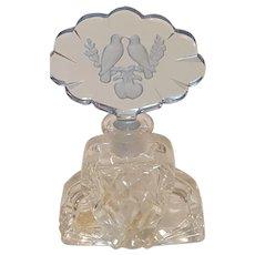 Vintage Morlee Crystal Love Birds Perfume Bottle w/ Intact Dauber