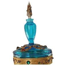 Rare Vintage 1920's Jeweled Boxtle  Blue Perfume Bottle combo Powder Jar
