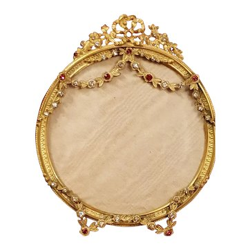 Rare Antique French Bronze & Red Jeweled Picture Frame Bows & Garland Swags 4 Miniature Portrait