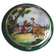 Antique 935 Sterling Silver & Green Guilloche w/ Hand Painted Romantic Scene