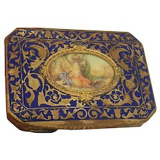 Antique Italian Gold & Blue Enamel Compact w/ Hand Painted Scene Italy