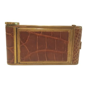 VTG Novelty Camera Shaped Compact / Cigarette / Lipstick Case Alligator Leather