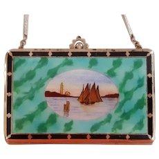 Vintage Enamel & Guilloche Boat Scene Compact  Vanity Purse