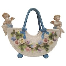 Lrg. Antique German Porcelain Cherub Basket Center Piece