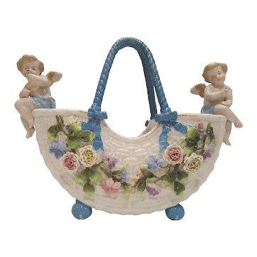 Lrg. Antique German Porcelain Cherub Basket Center Piece