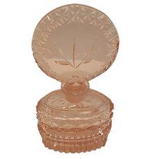 VTG Lrg. Czech Pink Perfume Bottle cut glass w/ DAUBER Intact
