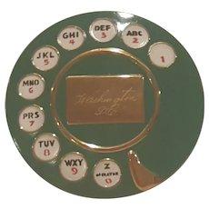 Rare VTG  Salvador Dali Green Rotary Telephone Compact Engraved Washington DC