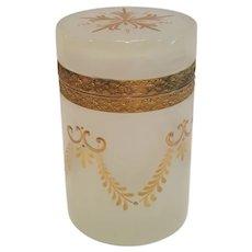 Antique French White Opaline Glass w/ Lavish Gold Decoration Cylindrical Hinged Box