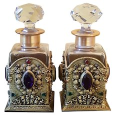 Rare Huge & Heavy E & J B Empire Art Gold Lrg. Jeweled Perfume Bottles