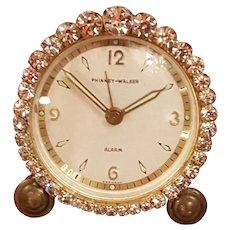 Dazzling Jeweled Vintage Phinney-Walker Alarm Vanity German Clock WORKS!