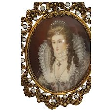 Antique Signed Miniature Portrait Painting in Jeweled Frame