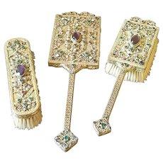 Impressive 3 pc. Big Jeweled E & J B Empire Art Gold Mirror, Brush Set
