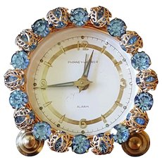 Works! Dazzling Blue Jeweled Vintage Phinney-Walker Alarm Vanity German Clock