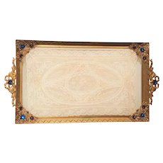 Fabulous 1910-20's Jeweled Vanity Tray w/ Lace Insert