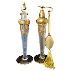 1920's Fine Baccarat Acid Cut Cameo Glass Perfume Bottle Set w/ Atomizer