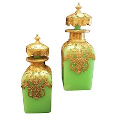 Antique French Green Opaline Vaseline Glass & Gilt Perfume Bottles Set