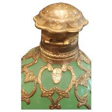 Antique Green Opaline Vaseline Glass Perfume Scent Bottle w/ Gold Filigree