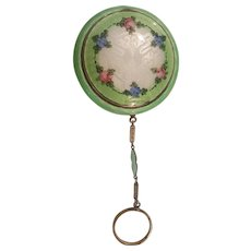 Antique Green & Floral Guilloche Compact w/ Finger Ring