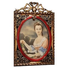 Antique Miniature Painting in a French Gold & Red enamel Guilloche Picture Frame