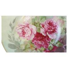 Big Pink Roses Plate - Limoges Ahrenfeldt