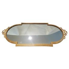 Luxury Gold Plate Large & Heavy Vanity Tray w/ French Bows