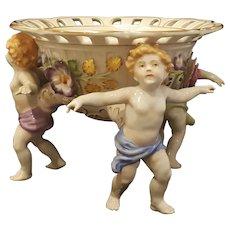 Von Schierholz Porcelain Centerpiece  Bowl w/ 3 Cherubs