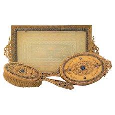 1920's Blue Jeweled E. & J. B. Empire Art Gold Vanity Tray, Mirror & Brush Set