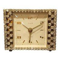 Works! Dazzling Elgin Rhinestone Vanity Clock Mid-Century Alarm Clock