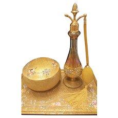 1920's DeVilbiss Perfume Atomizer Matched Set - Tall Perfume bottle, lrg. Powder or Trinket Jar, Tray