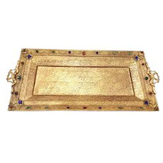 "1920's Jeweled 13""  Metal Vanity Perfume Tray"