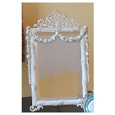 Vintage 14 x 9 Heavy Vanity Mirror w/ French Style Swags