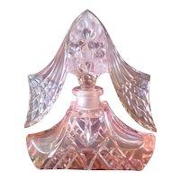 Impressive Lrg. Czech 1920's Pink Perfume Bottle Dauber Intact Art Deco