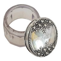 Small Antique Sterling Silver & Sun Purple Glass Powder Jar Dresser Box Trinket