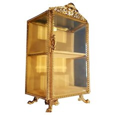 Vintage Stand up 2 shelf Casket Gold Plated Beveled Glass Vitrine Jewelry Trinket Box