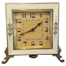 Works! Antique Sterling Silver & White Guilloche 8 Day Clock