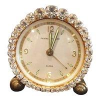 Works! Dazzling Jeweled Vintage Phinney-Walker Alarm Vanity German Clock