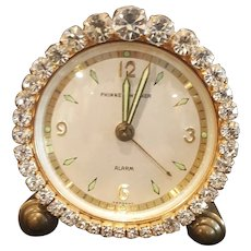 Works! Dazzling Jeweled Vintage Phinney-Walker Alarm Vanity German Clock