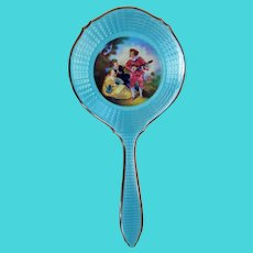 Antique Full Size 935 Sterling Silver & Blue Guilloche Hand Mirror w/ Hand Painting *  Vanity Accessories