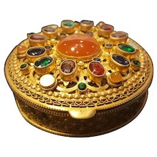 Antique Austrian Lrg Jeweled Compact w/ lrg Cabochon Orange Carnelian & Glass Stones