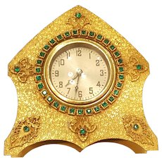 1920's Green Jeweled gold Encrusted Vanity Desk Clock *Not Working