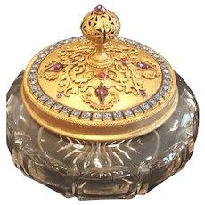 1920's Jeweled  E & J B Empire Art Gold Powder Jar