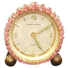 Works! Dazzling Pink Jeweled Vintage Phinney-Walker Alarm Vanity German Clock