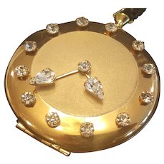 Vintage Jeweled Rhinestone Compact Novelty Shape Pocket Watch