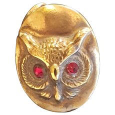 Antique Gold Owl w/ Ruby Glass Eyes Hatpin