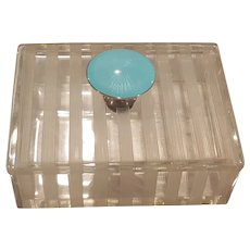 Antique / VTG  Blue Guilloche, Sterling Silver & Glass Vanity Box Powder Jar Trinket