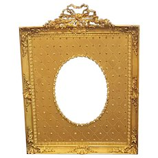 "Gorgeous 10.5"" x 7.75"" Antique French Jeweled Bronze Picture Frame w/ Bows and Garland"