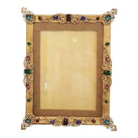 Antique Jeweled Picture Frame Gold Ormolu w/ Colorful Glass Stones
