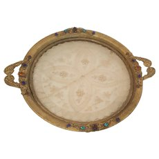 Antique Round Jeweled Vanity Tray w/ Lace Insert
