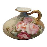 Antique French Large Squat Ewer w/ lrg. Open Pink Roses & Gold Trim Limoges
