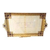 Goegeous Antique Purple Jeweled Perfume Vanity Tray
